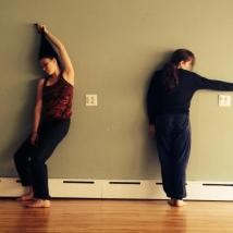 "Katie Politis and Katherine Gore, ""bad woods"" rehearsal"